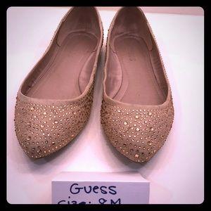Guess tan sparkle flat